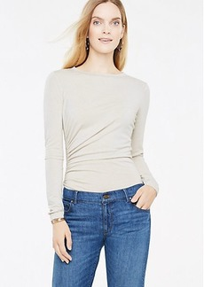 Petite Side Ruched Long Sleeve Top