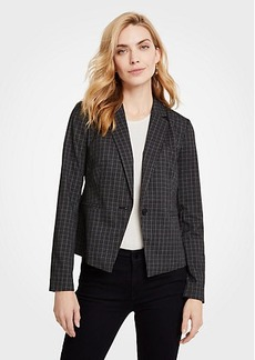Ann Taylor Petite Sketched Plaid One Button Jacket