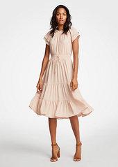 Ann Taylor Petite Smocked Tie Waist Ruffle Dress