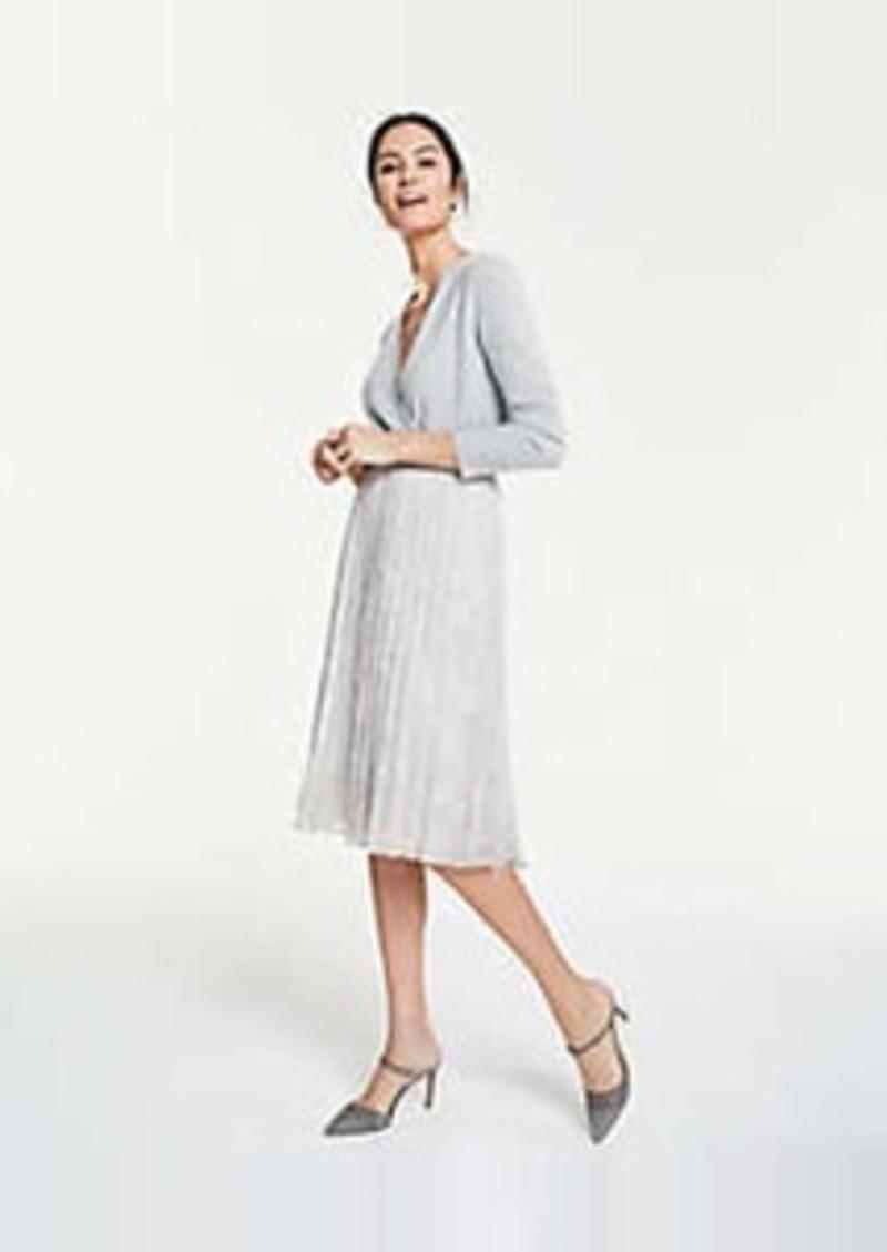 Ann Taylor Petite Snakeskin Print Pleated Midi Skirt