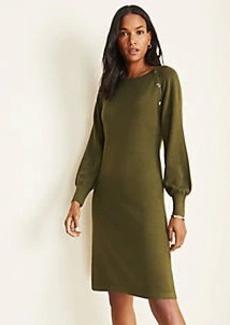 Ann Taylor Petite Snap Trim Flare Sweater Dress