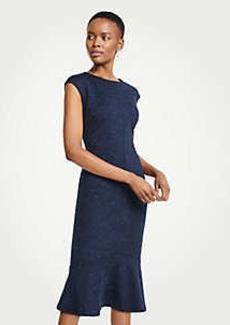 Ann Taylor Petite Speckled Ponte Flounce Sheath Dress