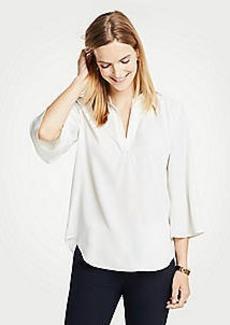 Ann Taylor Petite Split Neck Bell Sleeve Blouse