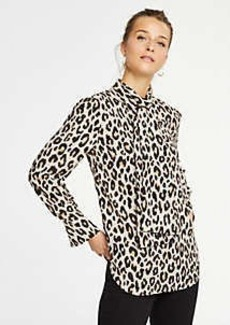 Ann Taylor Petite Spotted Bow Blouse