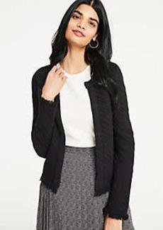 Ann Taylor Petite Stitched Fringe Sweater Jacket