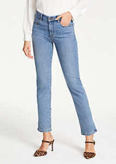 Ann Taylor Petite Straight Crop Jeans in Mid Indigo Wash