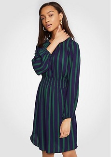 Ann Taylor Petite Stripe Gathered Flare Dress