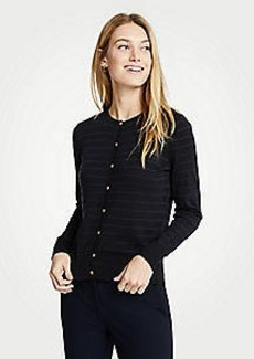Ann Taylor Petite Stripe Gilded Button Ann Cardigan