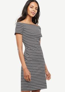 Petite Stripe Off The Shoulder Sheath Dress