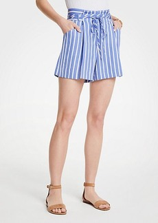 Ann Taylor Petite Stripe Pleated Tie Waist Shorts