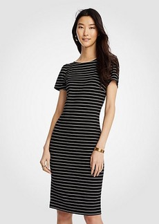 Ann Taylor Petite Stripe Puff Sleeve Ponte Sheath Dress