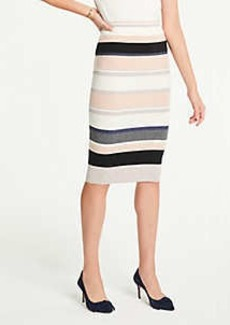 Ann Taylor Petite Stripe Ribbed Sweater Pencil Skirt
