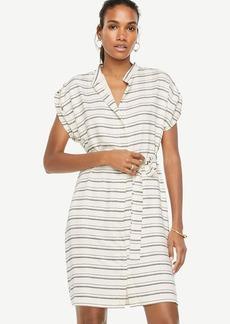 Petite Stripe Short Sleeve Belted Shirtdress