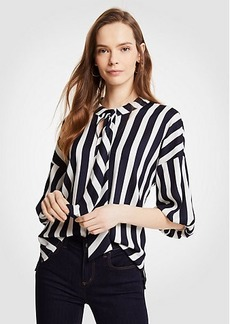 Ann Taylor Petite Stripe Tie Neck Puff Sleeve Blouse