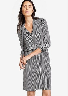 Ann Taylor Petite Stripe Tie Neck Shirtdress