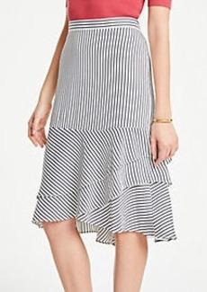 Ann Taylor Petite Stripe Tiered Flounce Skirt