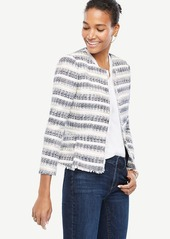 Ann Taylor Petite Stripe Tweed Fringe Jacket