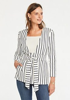 Ann Taylor Petite Striped Belted Topper
