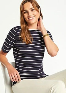 Ann Taylor Petite Striped Boatneck Sweater Tee