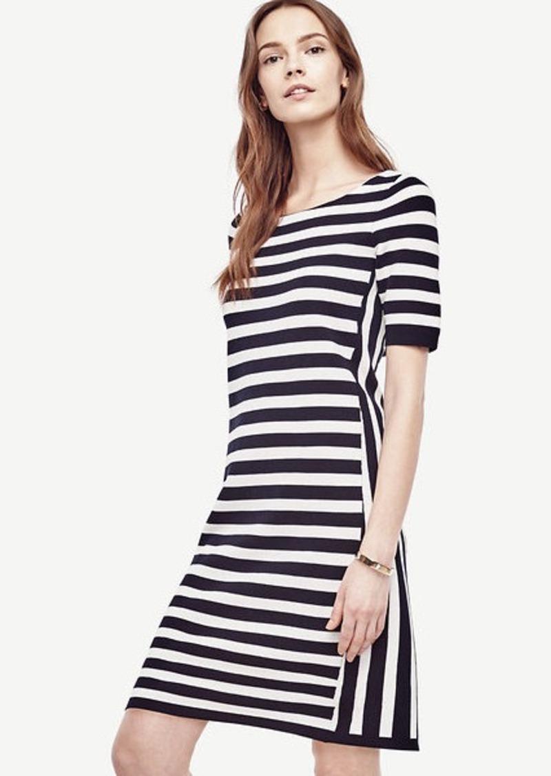 Sale Ann Taylor Petite Striped Bow Back Sweater Dress