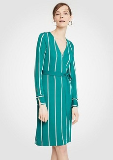 Ann Taylor Petite Striped Button Cuff Wrap Dress