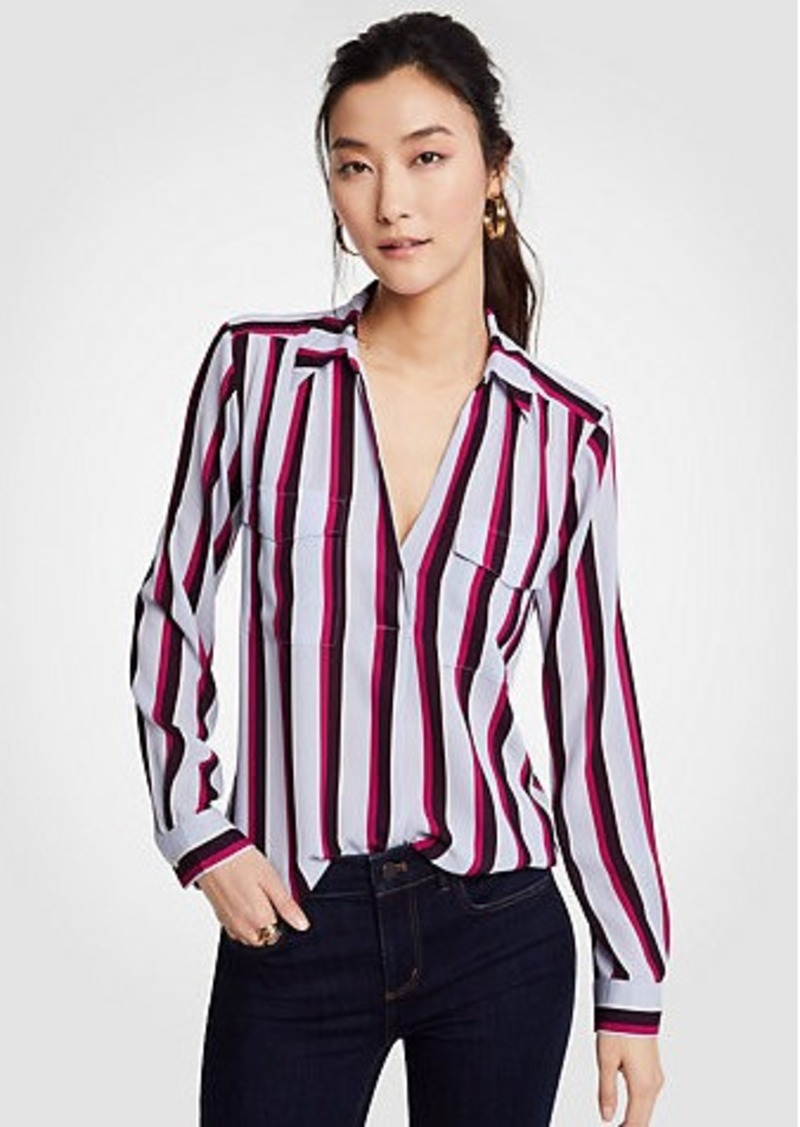59fe94304 Ann Taylor Petite Striped Camp Shirt | Casual Shirts