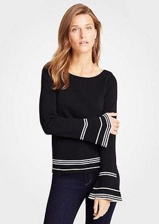 Ann Taylor Petite Striped Flare Sleeve Sweater