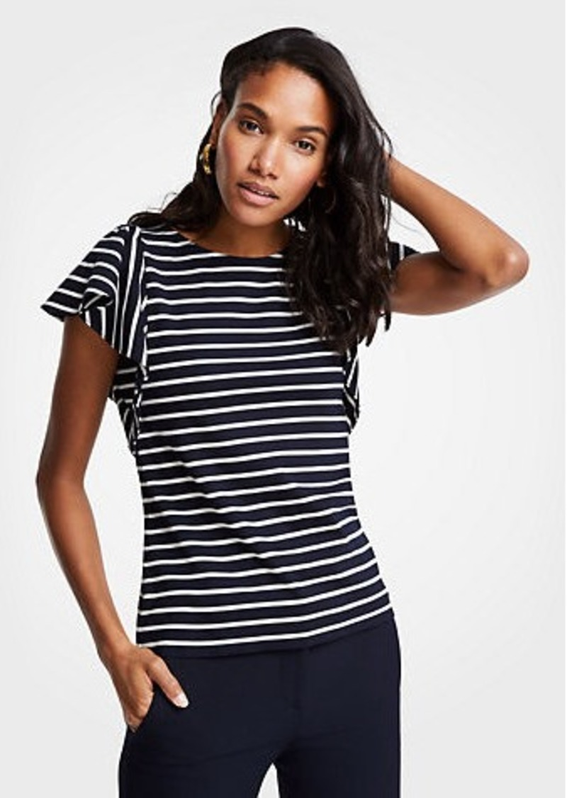 Ann Taylor Petite Striped Ponte Flutter Sleeve Top
