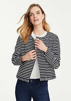 Ann Taylor Petite Striped Ponte Moto Jacket