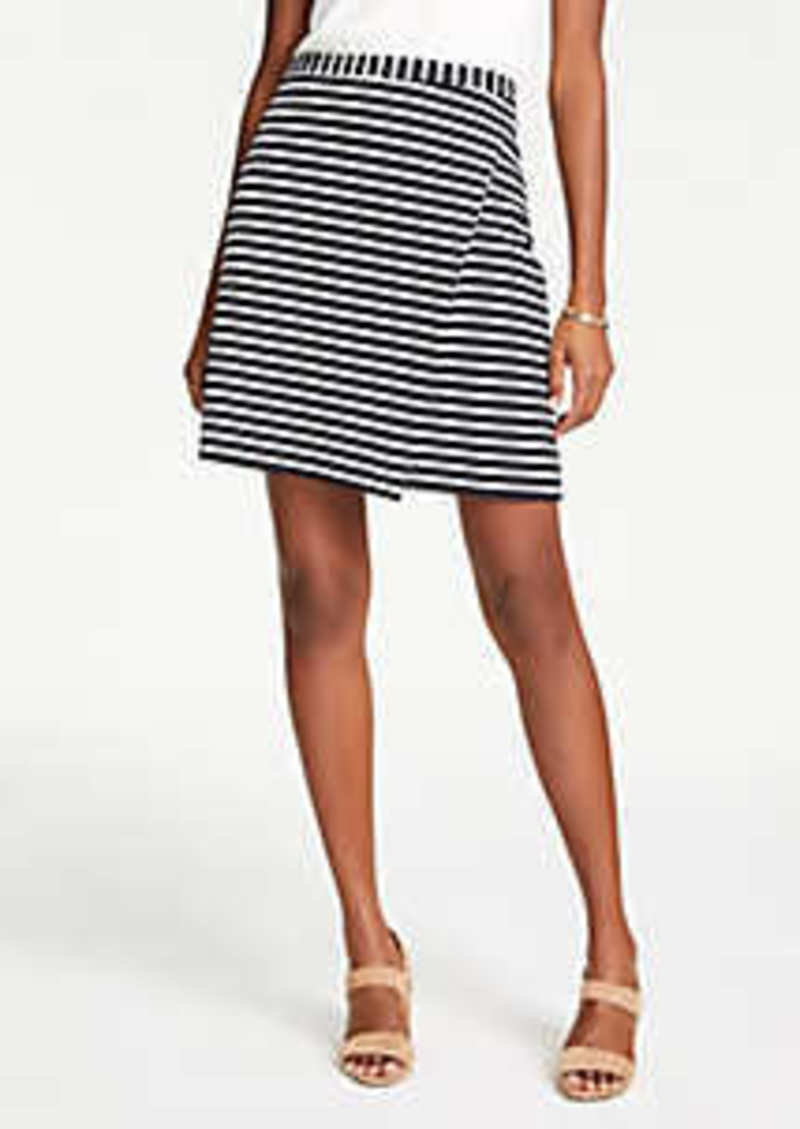 Ann Taylor Petite Striped Ponte Wrap A-Line Skirt