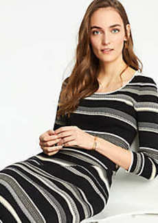 Ann Taylor Petite Striped Scoop Neck Sweater Dress