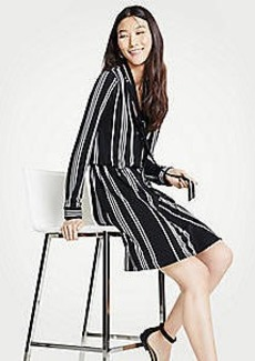 Ann Taylor Petite Striped Tie Neck Shirtdress