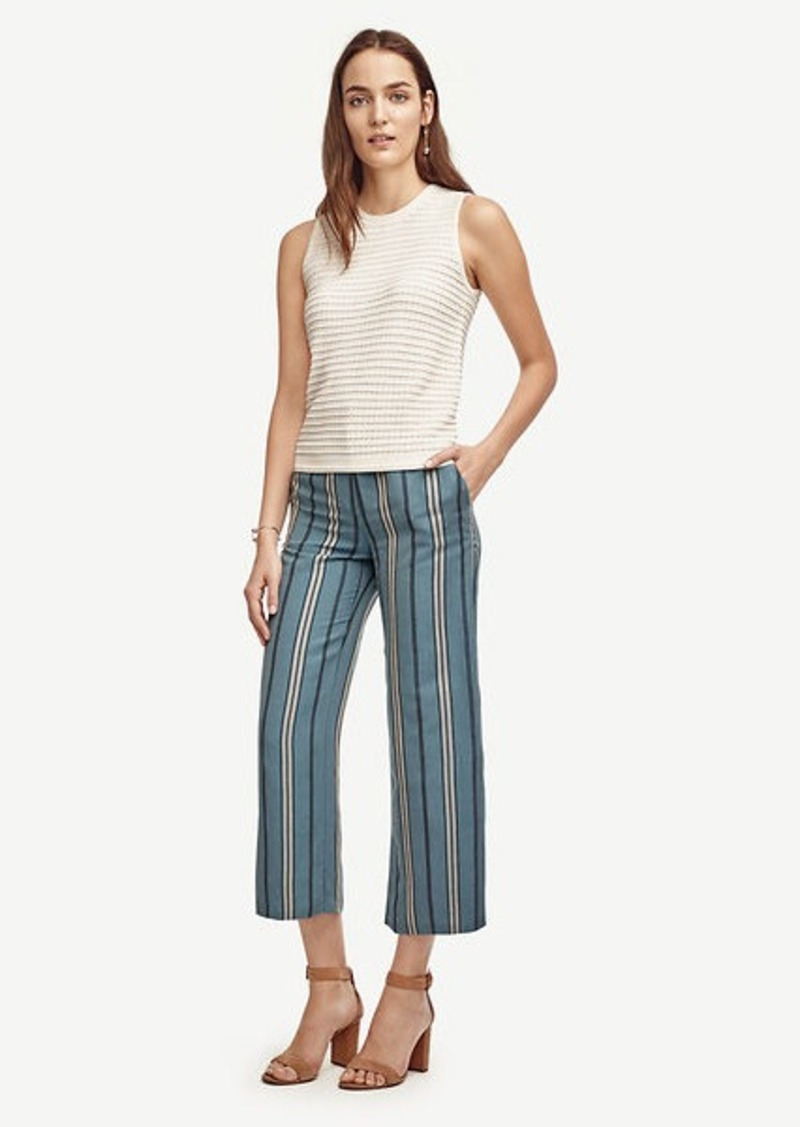 Ann Taylor Petite Striped Wide Leg Ankle Pants