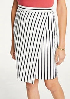 Ann Taylor Petite Striped Wrap Pencil Skirt