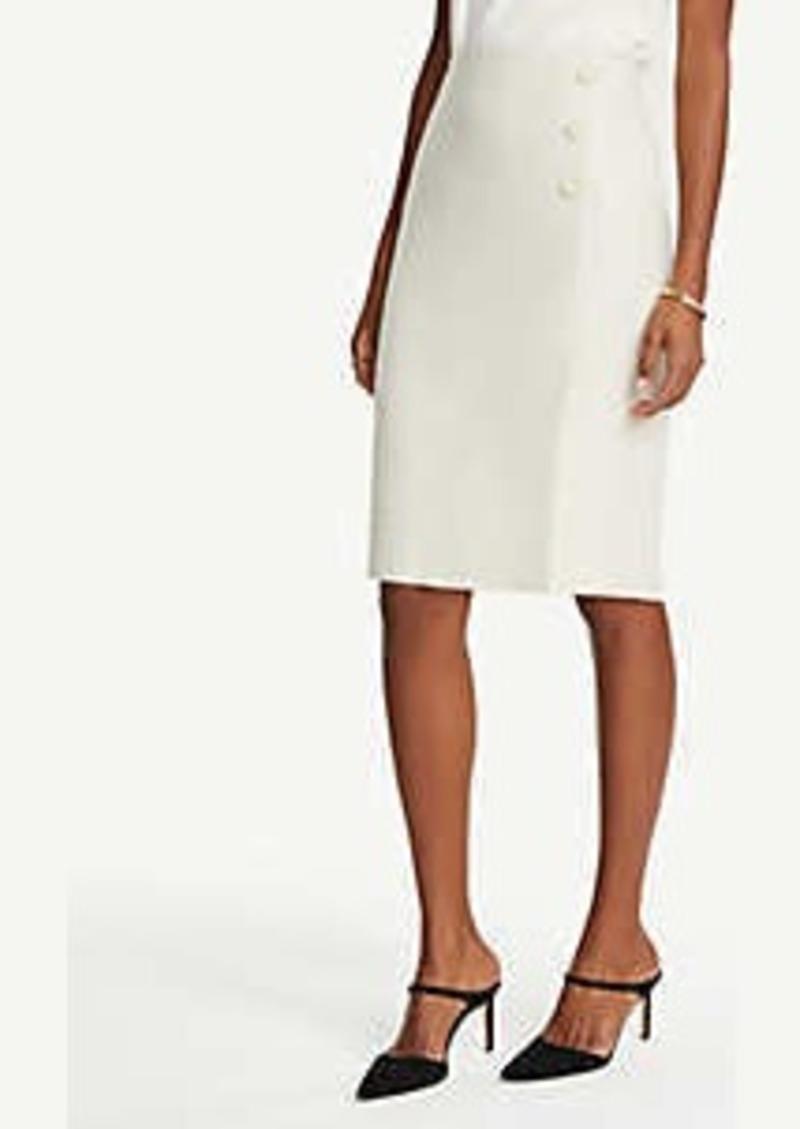 Ann Taylor Petite Textured Button Front Pencil Skirt