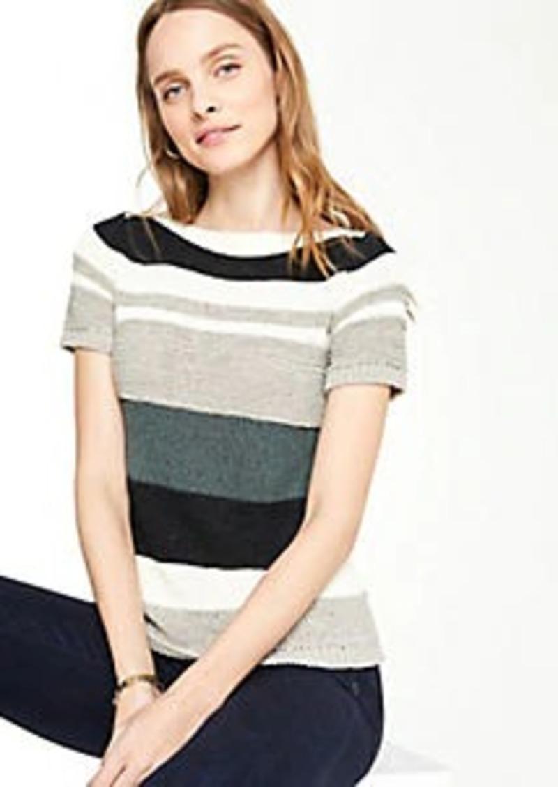 Ann Taylor Petite Textured Stripe Short Sleeve Sweater