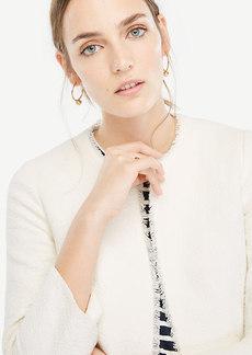 Ann Taylor Petite Textured Tweed Fluted Sleeve Jacket