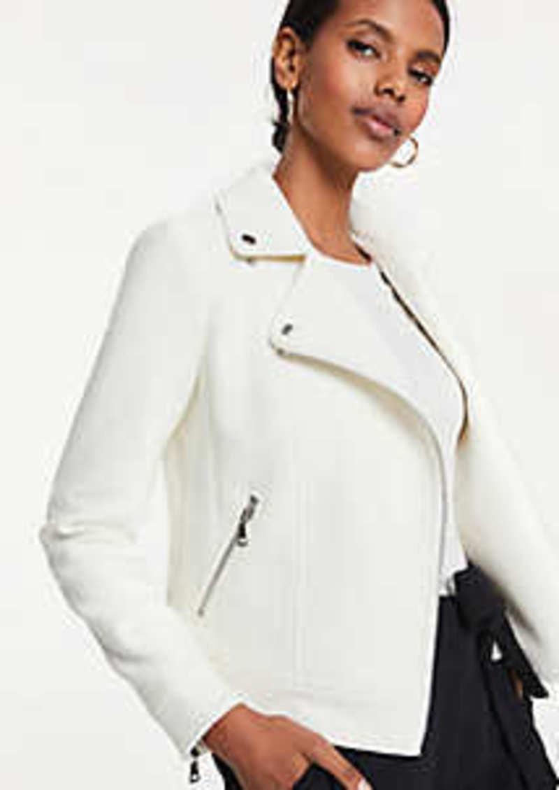 Ann Taylor Petite Textured Tweed Moto Jacket