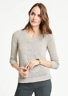 Ann Taylor Petite Textured V-Neck Sweater