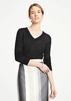 Ann Taylor Petite Textured V-Neck Sweater