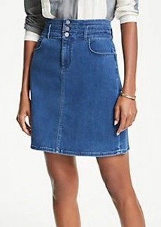 Ann Taylor Petite Three Button Denim Skirt