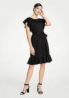 Ann Taylor Petite Tie Waist Flutter Dress