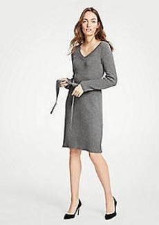 Ann Taylor Petite Tie Waist V-Neck Sweater Dress