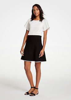 Ann Taylor Petite Tipped Flare Sweater Skirt