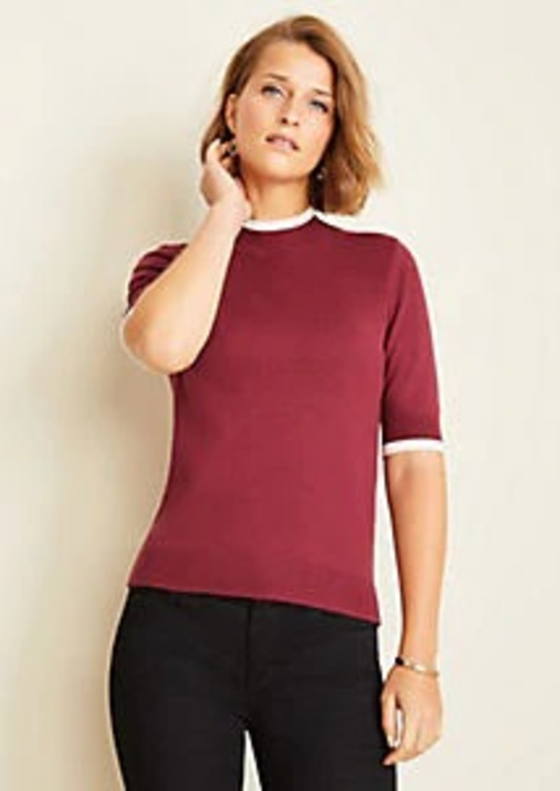 Ann Taylor Petite Tipped Mock Neck Sweater