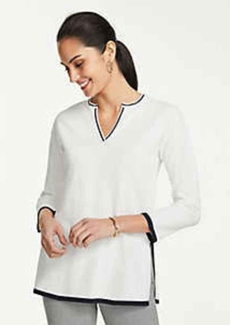 Ann Taylor Petite Tipped Split Neck Tunic