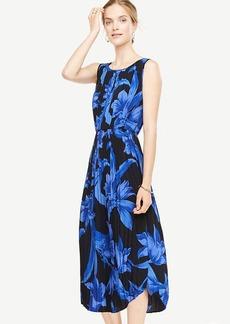 Petite Tropical Garden Pleated Midi Dress