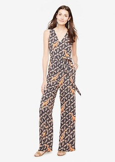 Petite Tropical Sleeveless Belted Jumpsuit