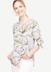 Ann Taylor Petite Tropical Tie Sleeve Blouse