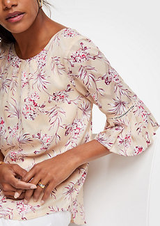 Ann Taylor Petite Tropical Toile Flutter Sleeve Top